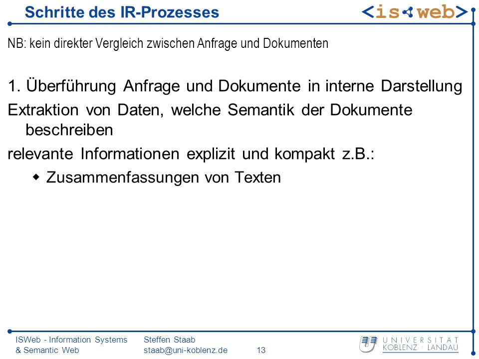 Schritte des IR-Prozesses