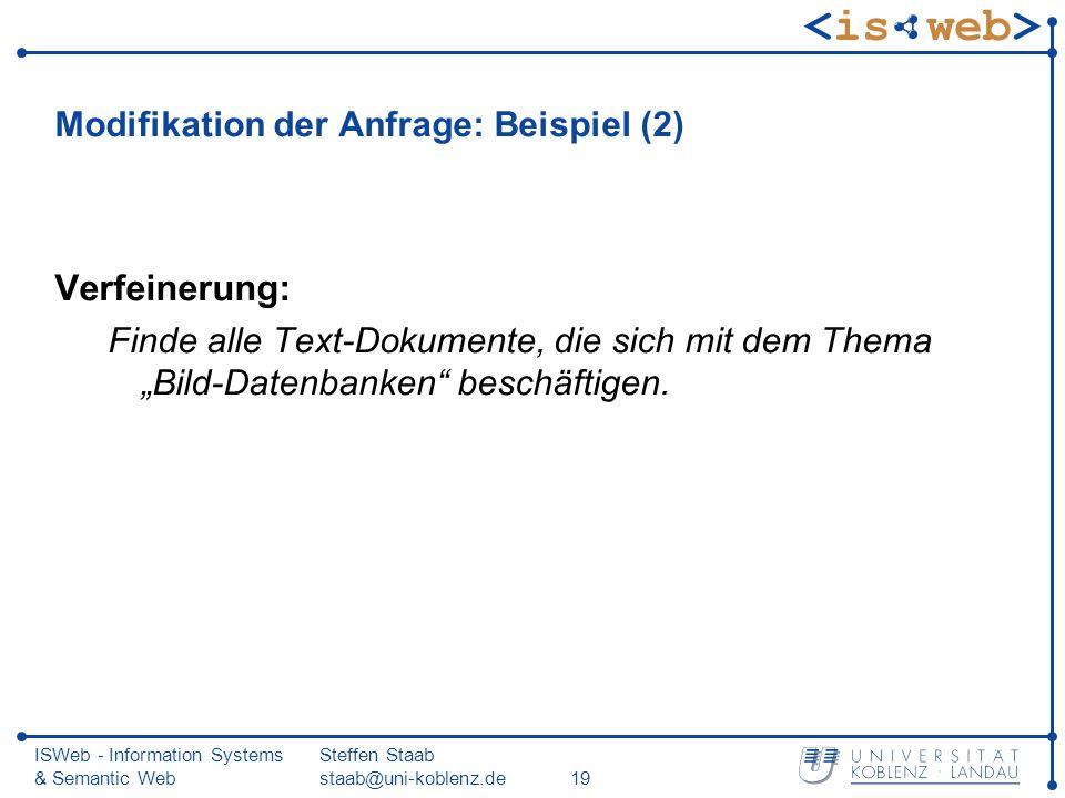 Modifikation der Anfrage: Beispiel (2)