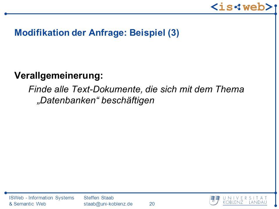 Modifikation der Anfrage: Beispiel (3)