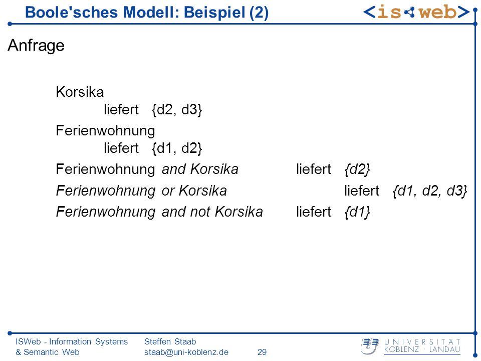Boole sches Modell: Beispiel (2)