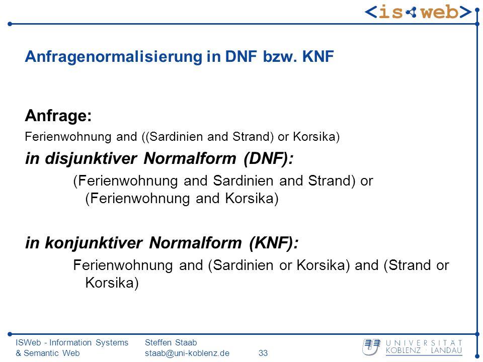 Anfragenormalisierung in DNF bzw. KNF