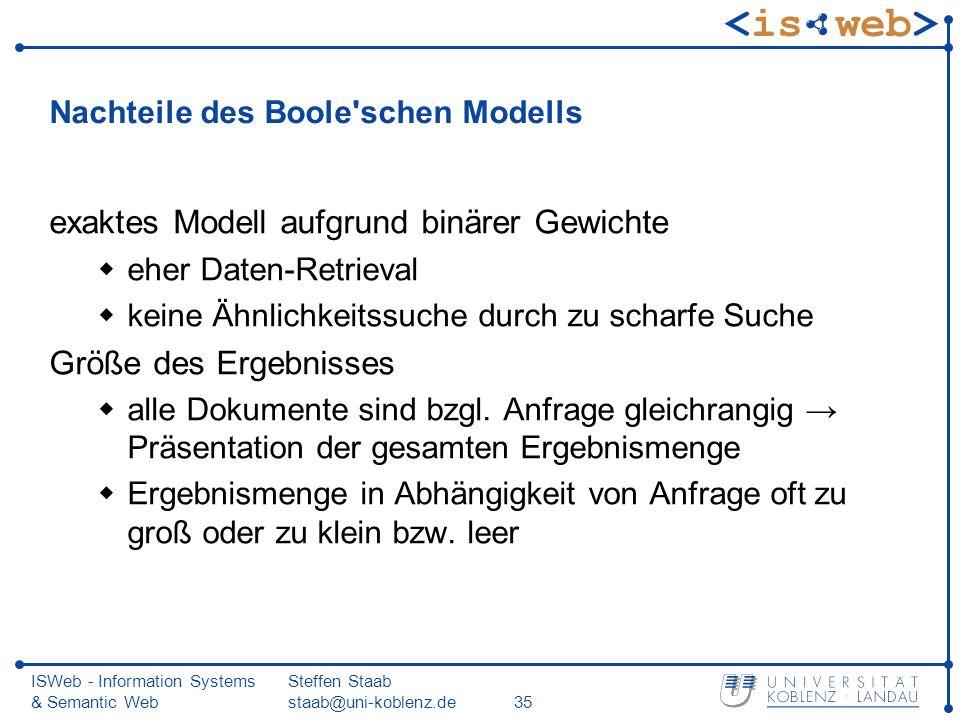 Nachteile des Boole schen Modells
