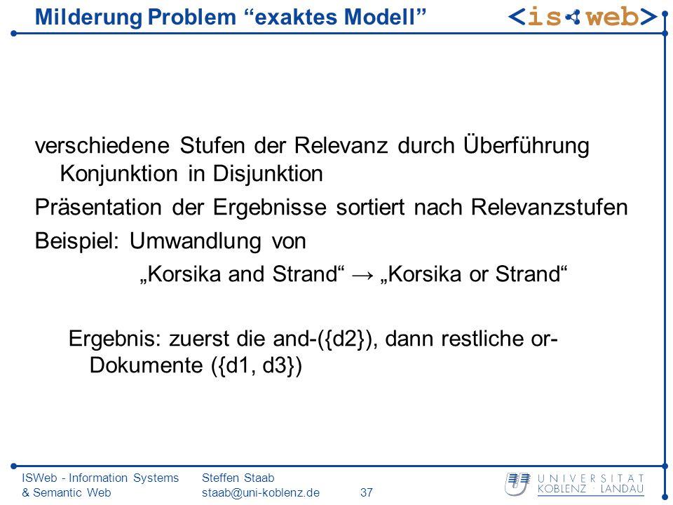 Milderung Problem exaktes Modell