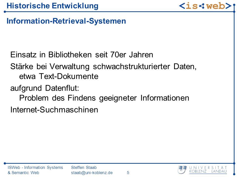 Historische Entwicklung Information-Retrieval-Systemen