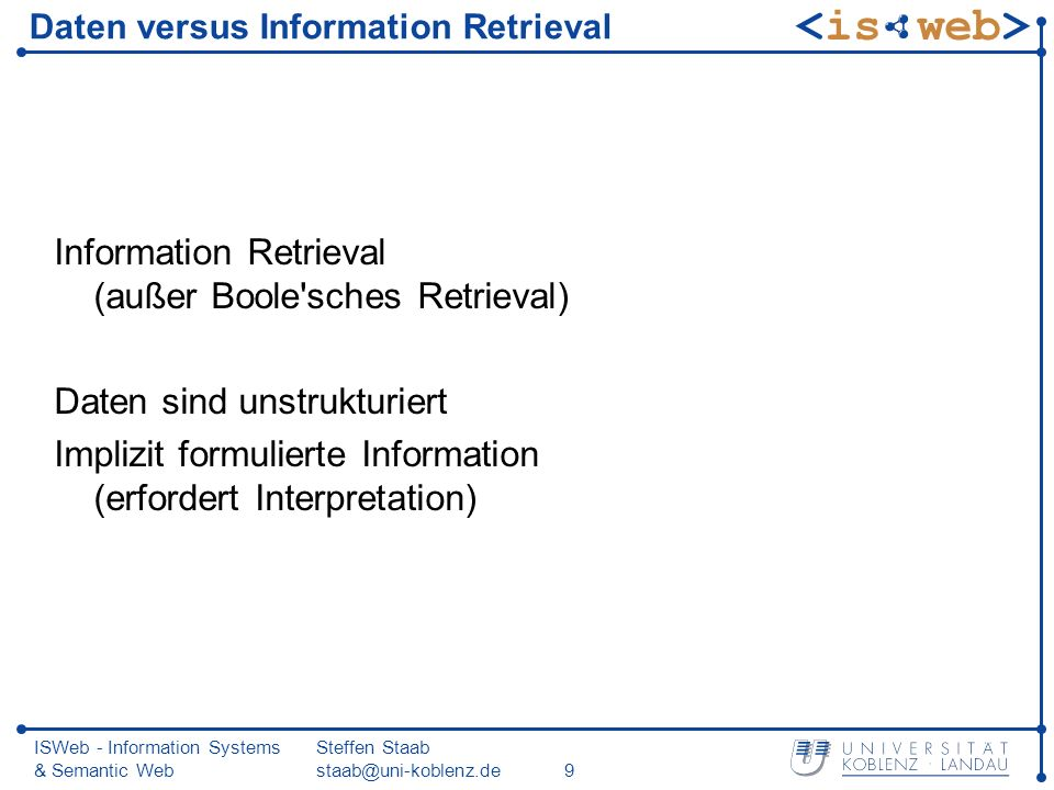 Daten versus Information Retrieval
