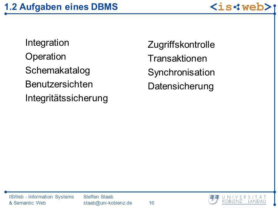 Integritätssicherung Zugriffskontrolle Transaktionen Synchronisation