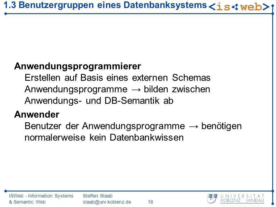 1.3 Benutzergruppen eines Datenbanksystems