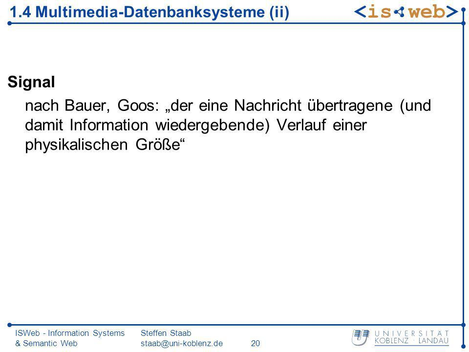 1.4 Multimedia-Datenbanksysteme (ii)