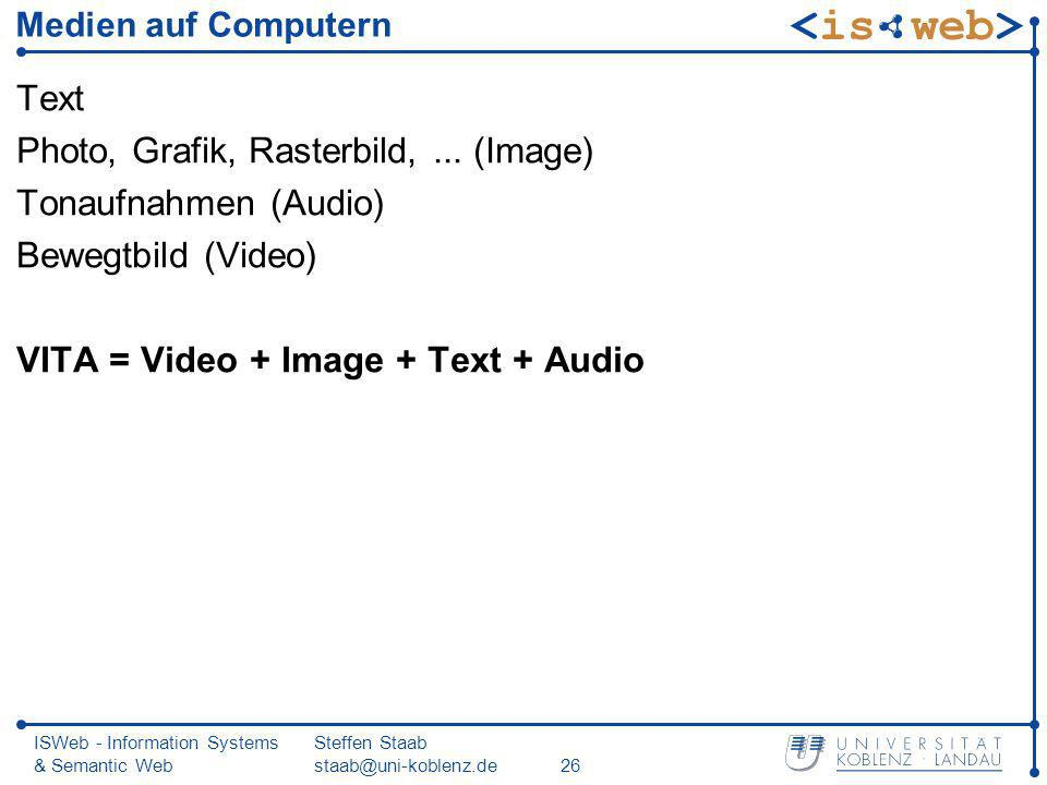 Photo, Grafik, Rasterbild, ... (Image) Tonaufnahmen (Audio)