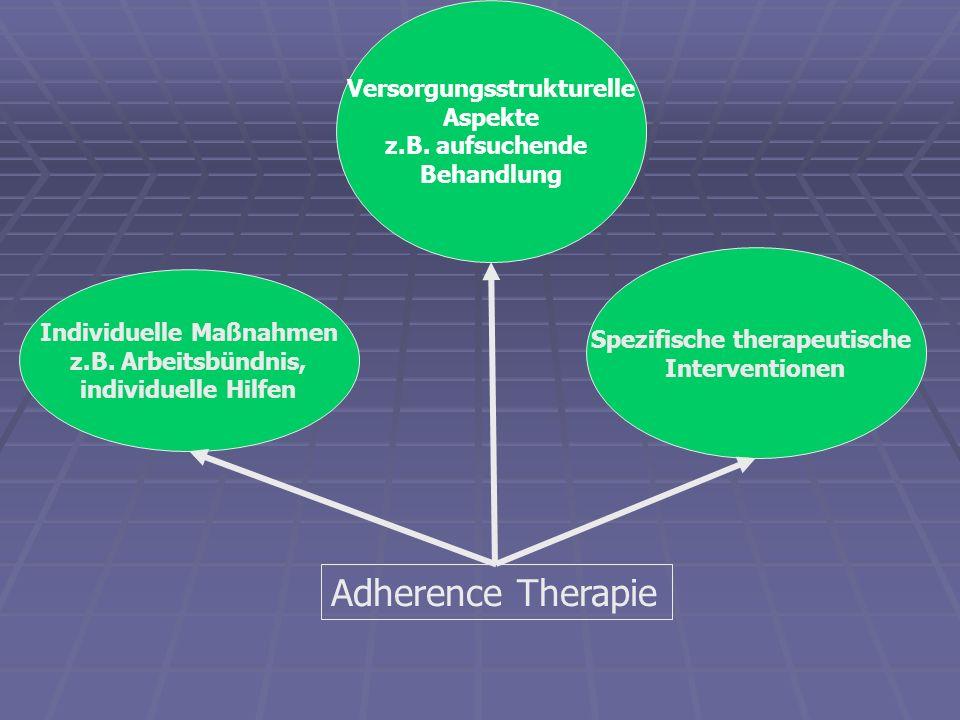 Adherence Therapie Versorgungsstrukturelle Aspekte z.B. aufsuchende