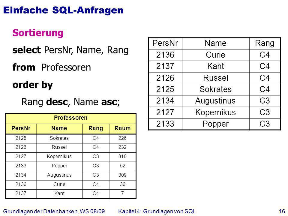 Einfache SQL-Anfragen