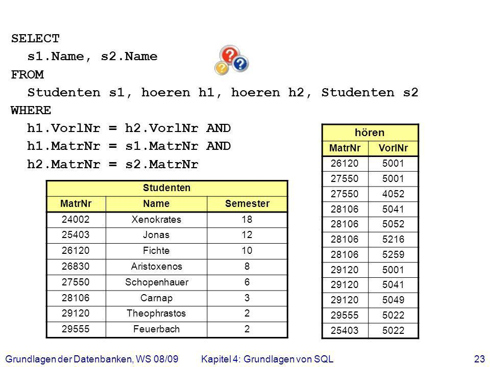 Studenten s1, hoeren h1, hoeren h2, Studenten s2 WHERE