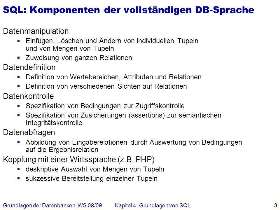 SQL: Komponenten der vollständigen DB-Sprache