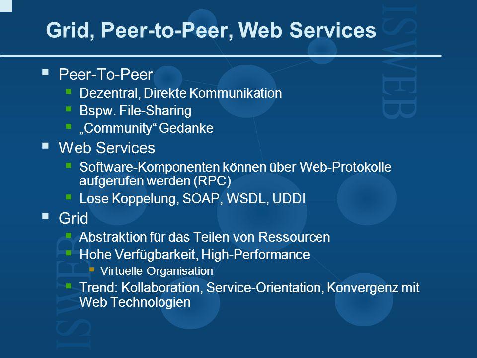 Grid, Peer-to-Peer, Web Services
