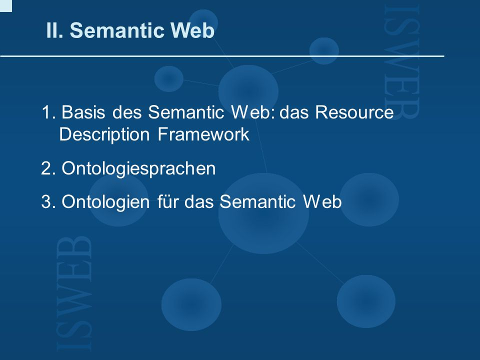 II. Semantic Web1. Basis des Semantic Web: das Resource Description Framework. 2. Ontologiesprachen.