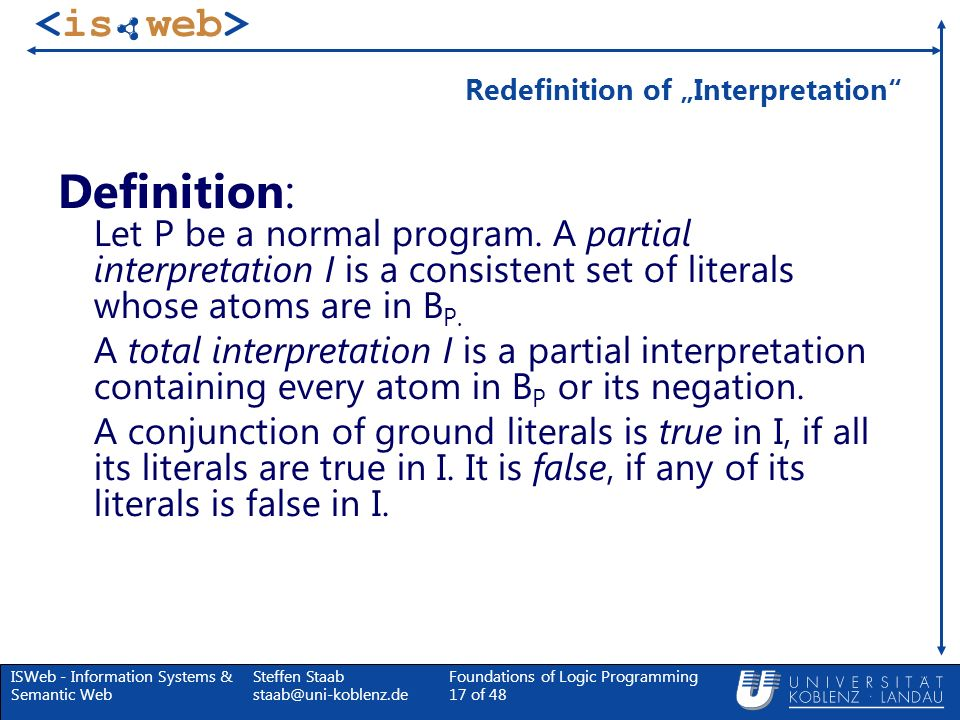 "Redefinition of ""Interpretation"