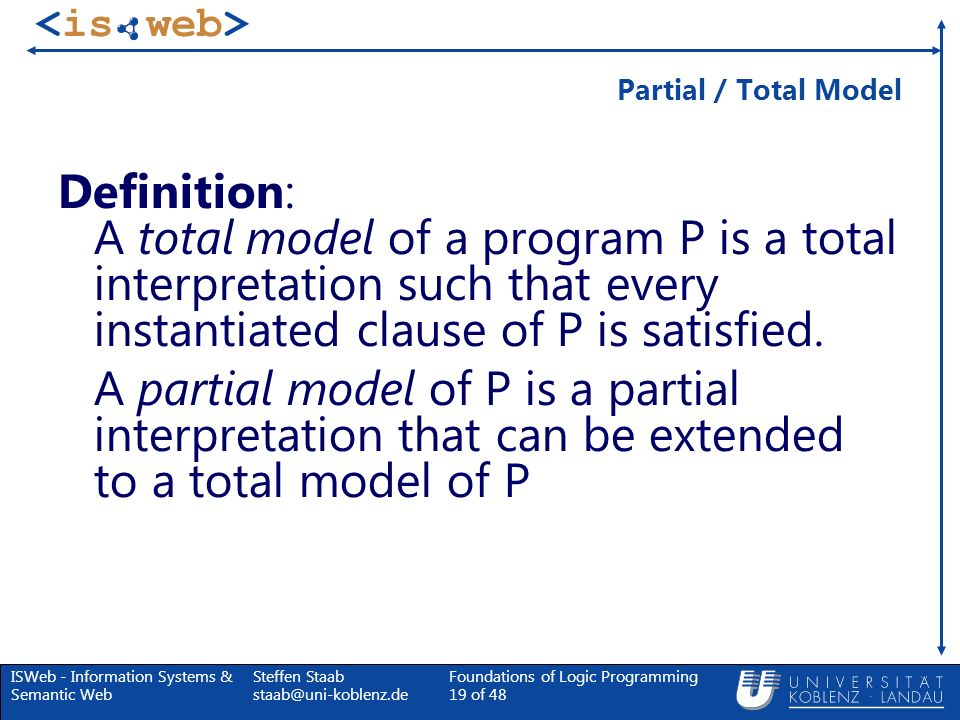 Partial / Total ModelDefinition: A total model of a program P is a total interpretation such that every instantiated clause of P is satisfied.
