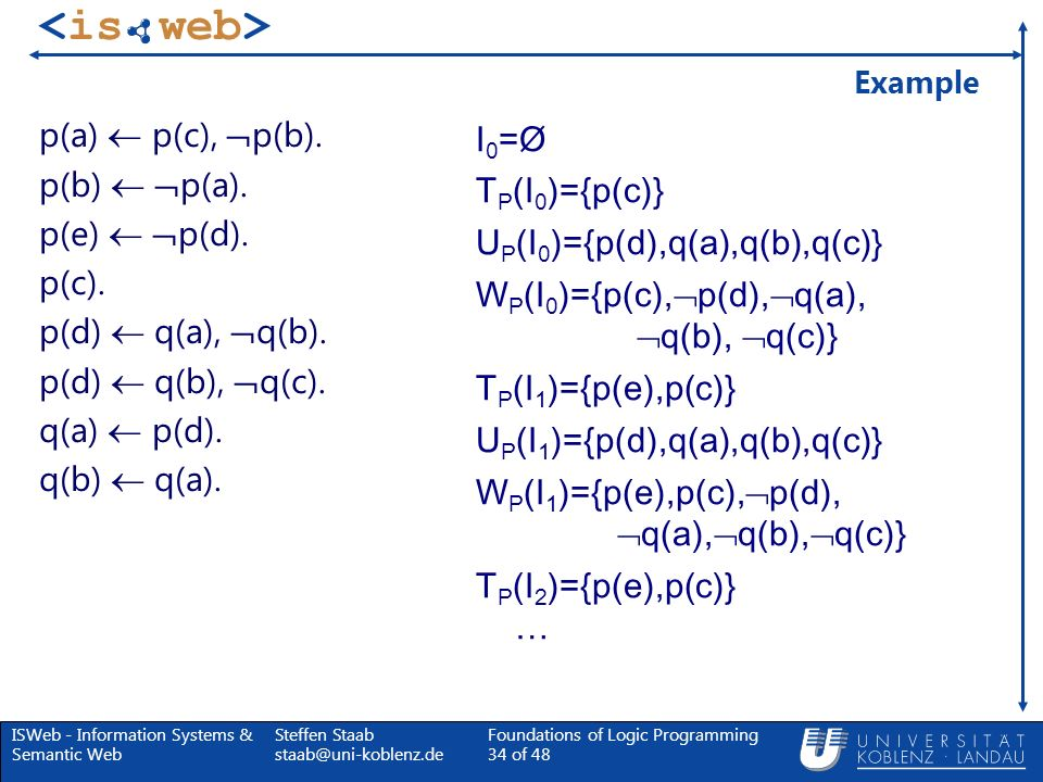 UP(I0)={p(d),q(a),q(b),q(c)} WP(I0)={p(c),p(d),q(a), q(b), q(c)}