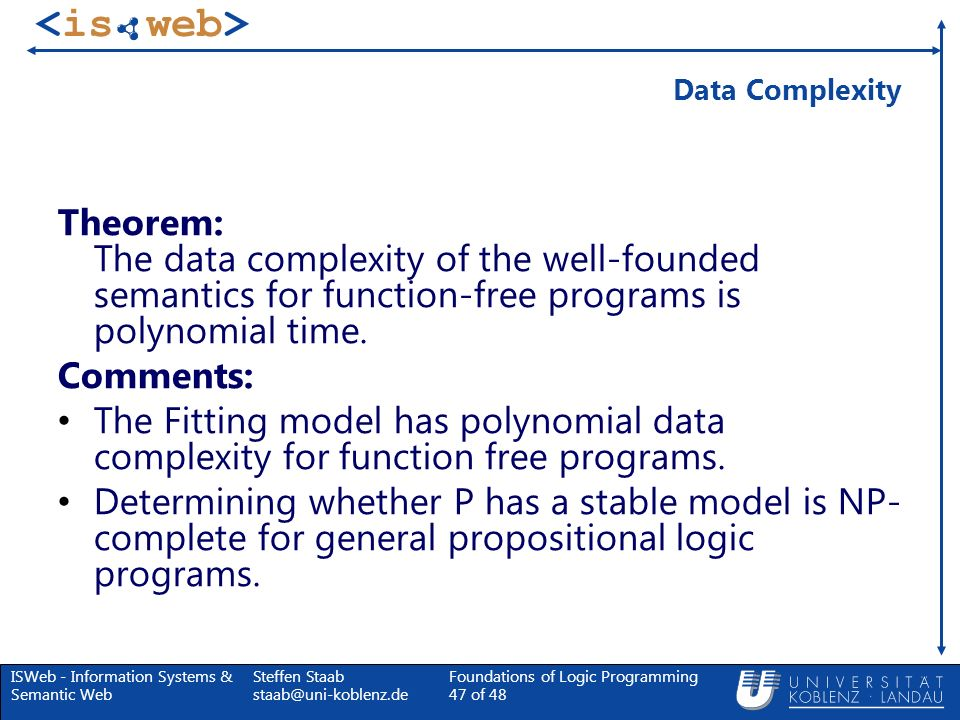 Data ComplexityTheorem: The data complexity of the well-founded semantics for function-free programs is polynomial time.