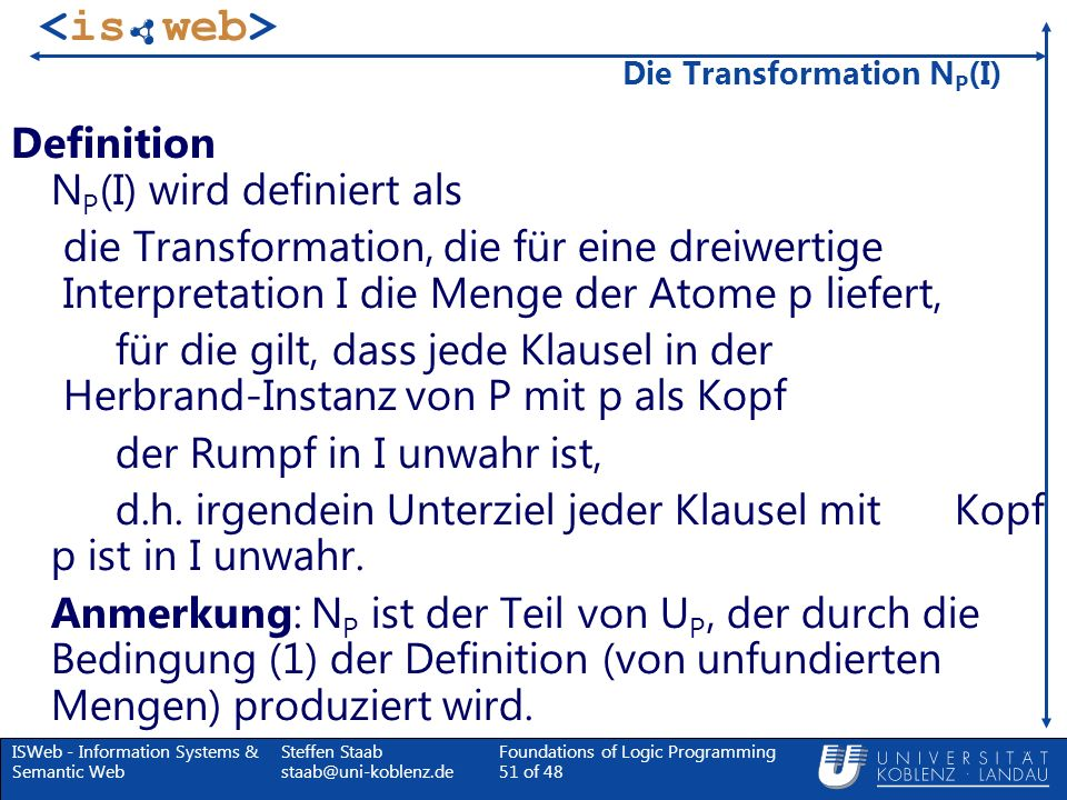 Die Transformation NP(I)