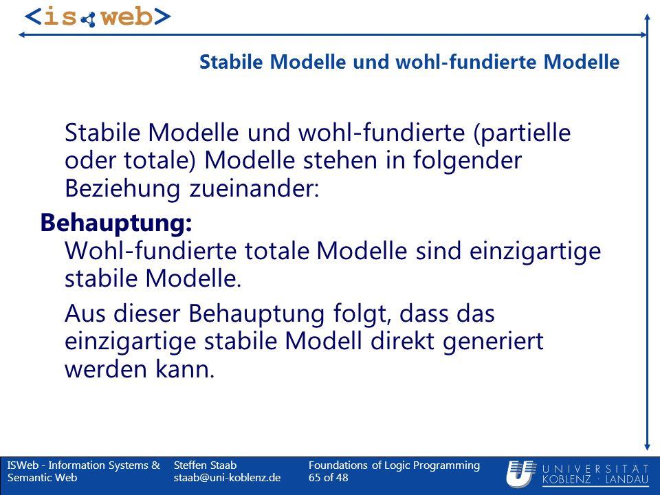 Stabile Modelle und wohl-fundierte Modelle