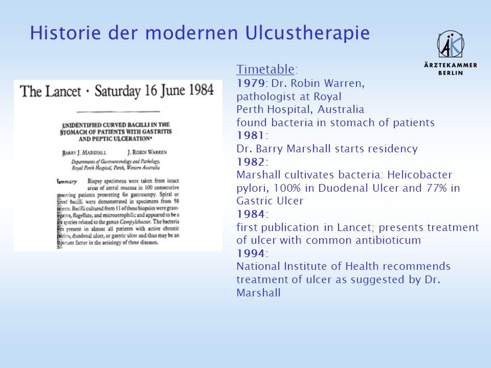 Historie der modernen Ulcustherapie