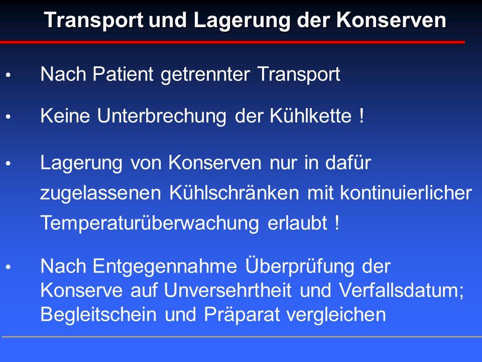 Transport und Lagerung der Konserven