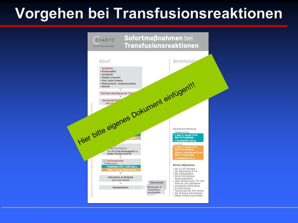 Vorgehen bei Transfusionsreaktionen