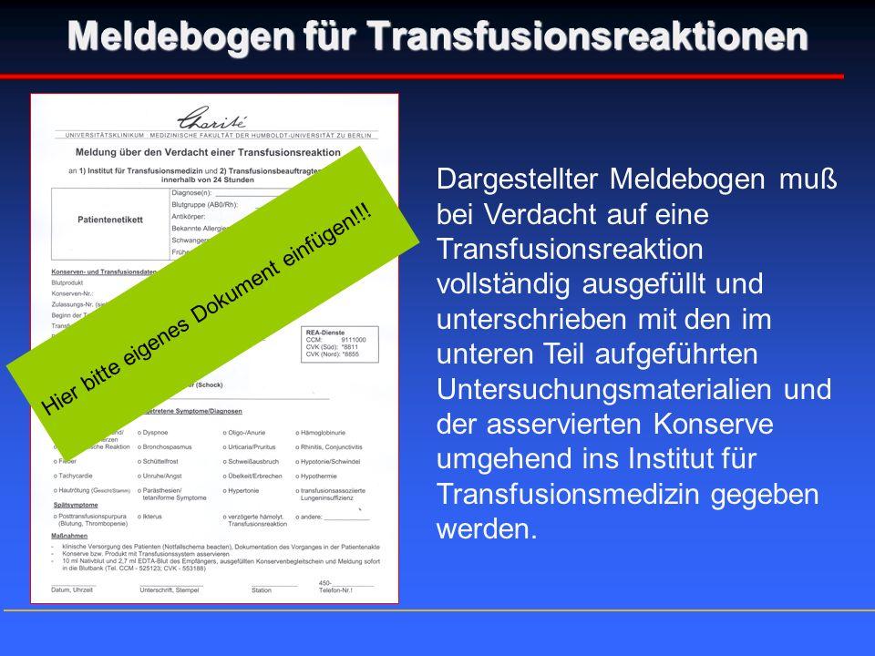 Meldebogen für Transfusionsreaktionen