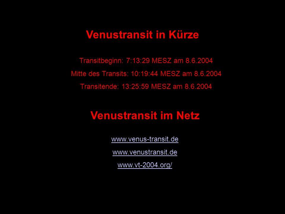 Venustransit in Kürze Venustransit im Netz