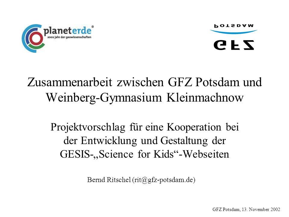 Zusammenarbeit zwischen GFZ Potsdam und Weinberg-Gymnasium Kleinmachnow