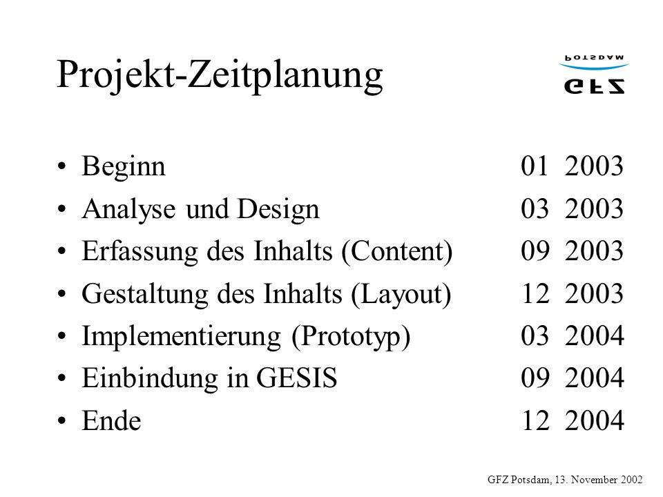 Projekt-Zeitplanung Beginn 01 2003 Analyse und Design 03 2003