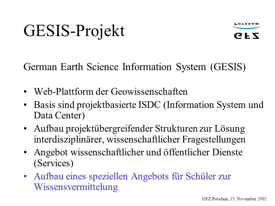 GESIS-Projekt German Earth Science Information System (GESIS)