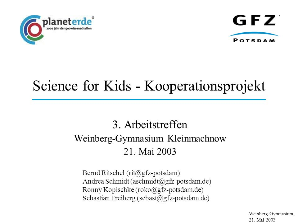 Science for Kids - Kooperationsprojekt