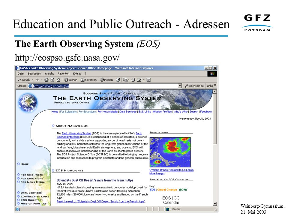 Education and Public Outreach - Adressen