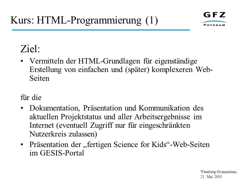 Kurs: HTML-Programmierung (1)