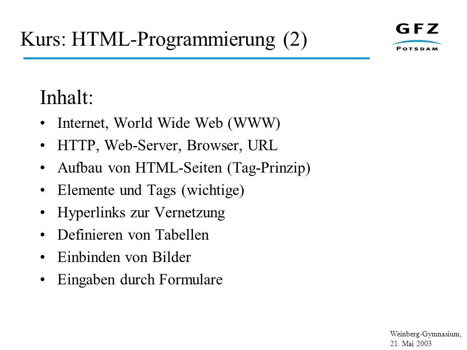 Kurs: HTML-Programmierung (2)