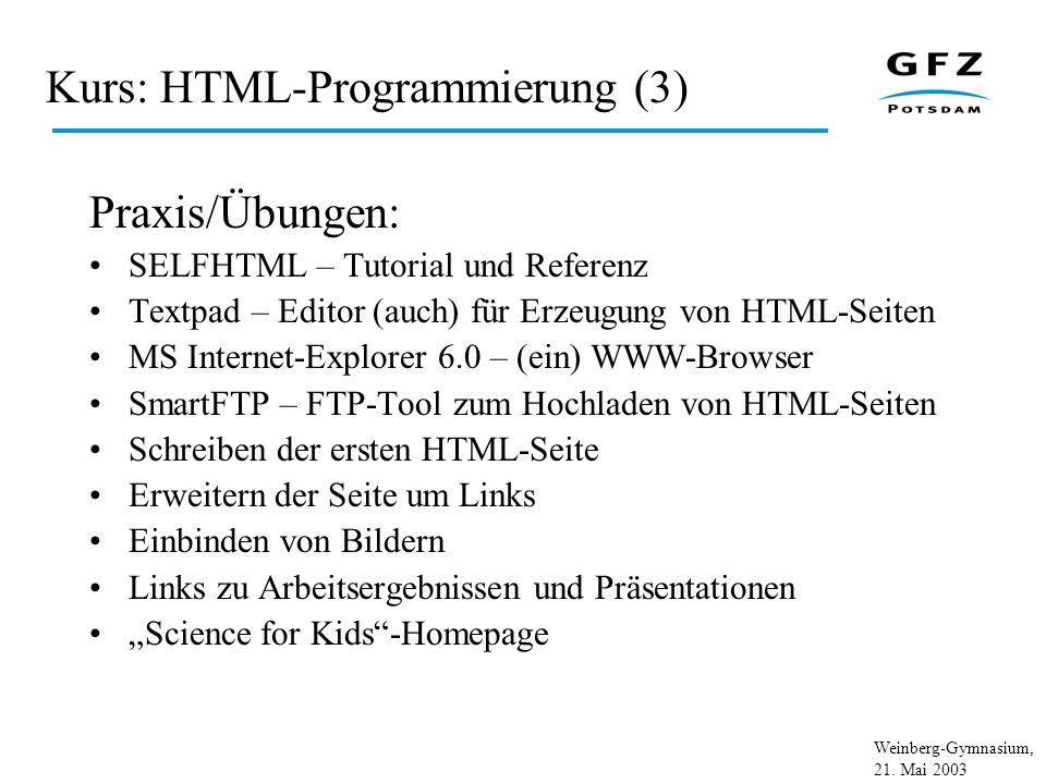 Kurs: HTML-Programmierung (3)
