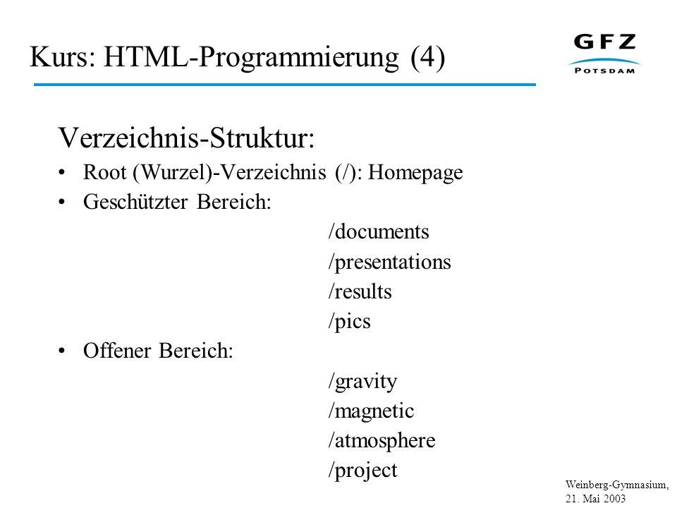 Kurs: HTML-Programmierung (4)