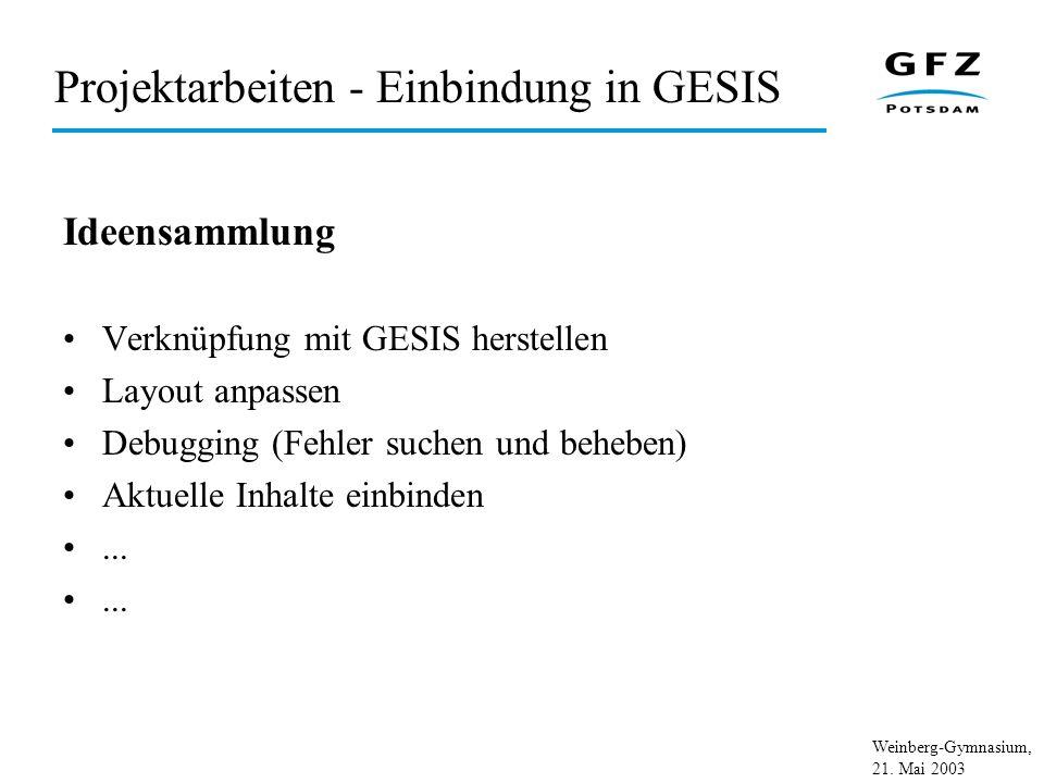 Projektarbeiten - Einbindung in GESIS
