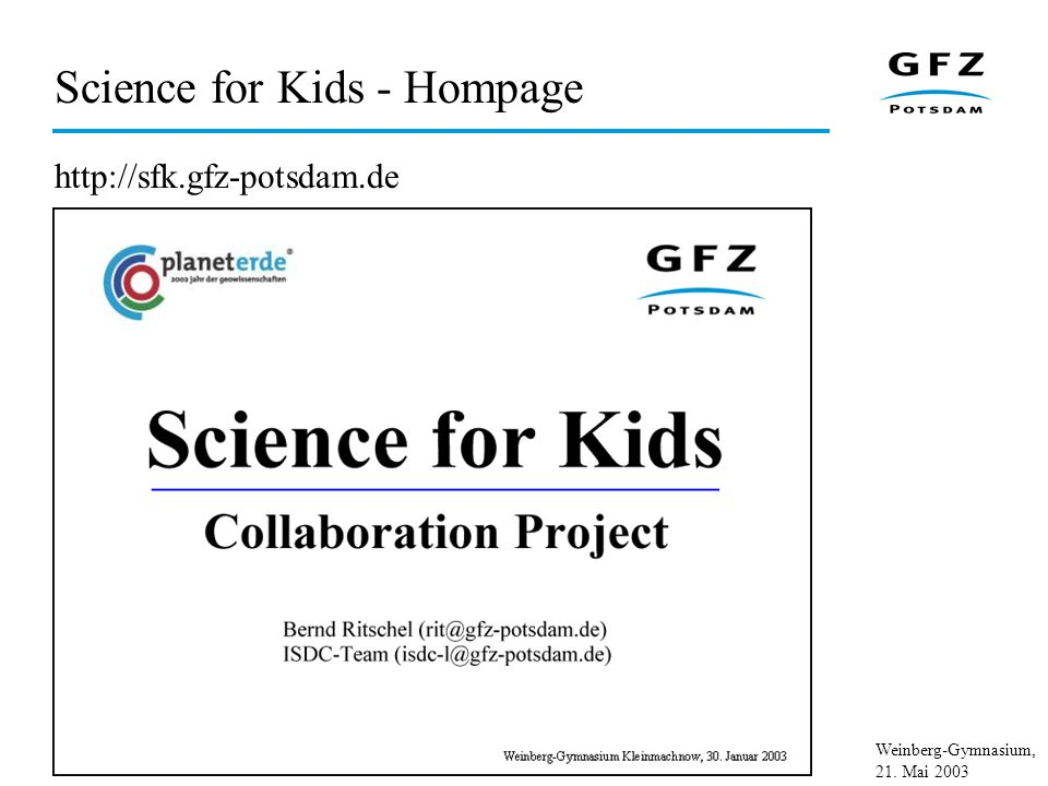 Science for Kids - Hompage