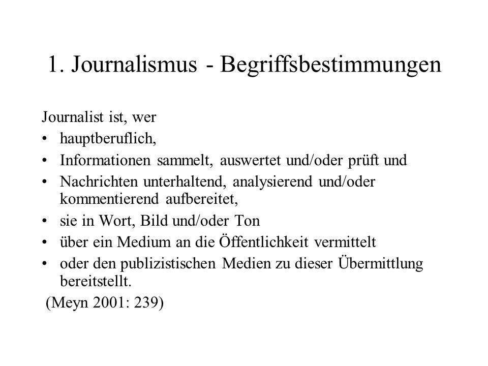 1. Journalismus - Begriffsbestimmungen