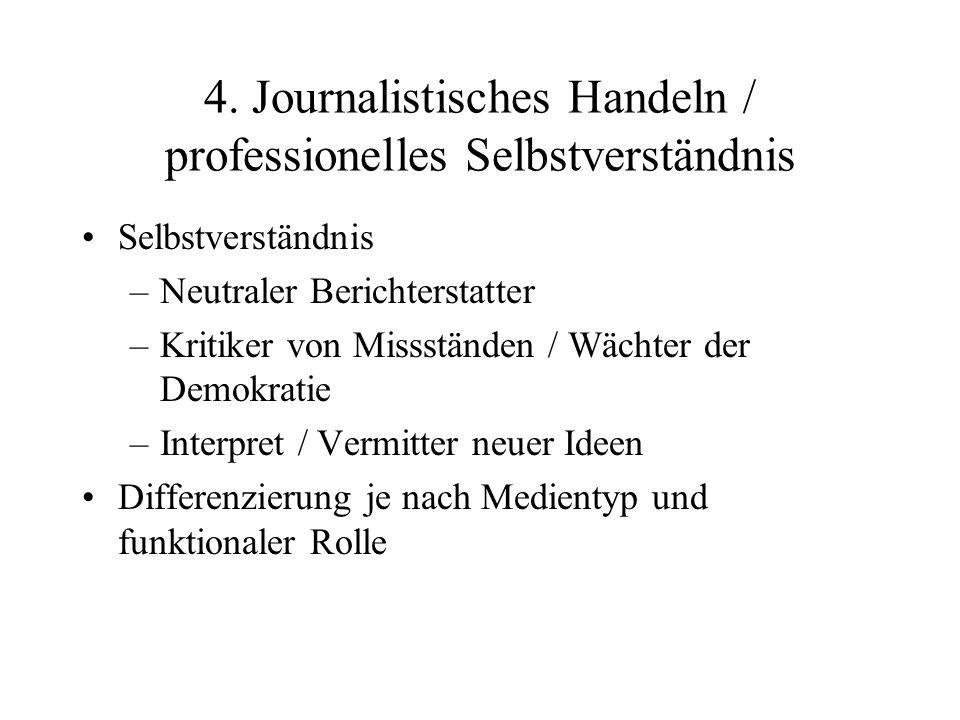 4. Journalistisches Handeln / professionelles Selbstverständnis