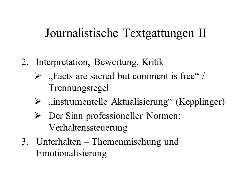 Journalistische Textgattungen II