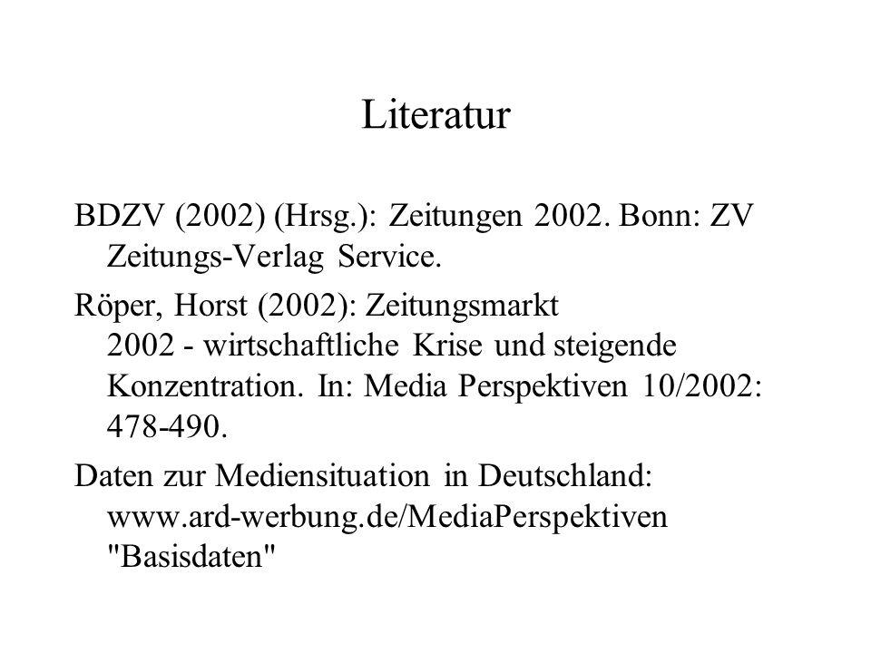 Literatur BDZV (2002) (Hrsg.): Zeitungen 2002. Bonn: ZV Zeitungs‑Verlag Service.