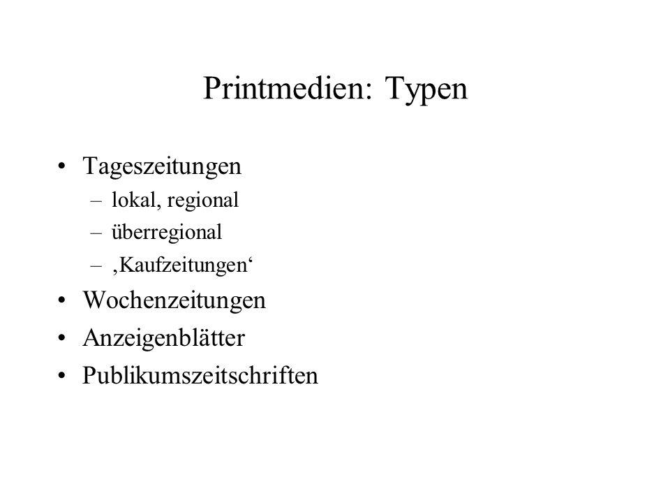 Printmedien: Typen Tageszeitungen Wochenzeitungen Anzeigenblätter