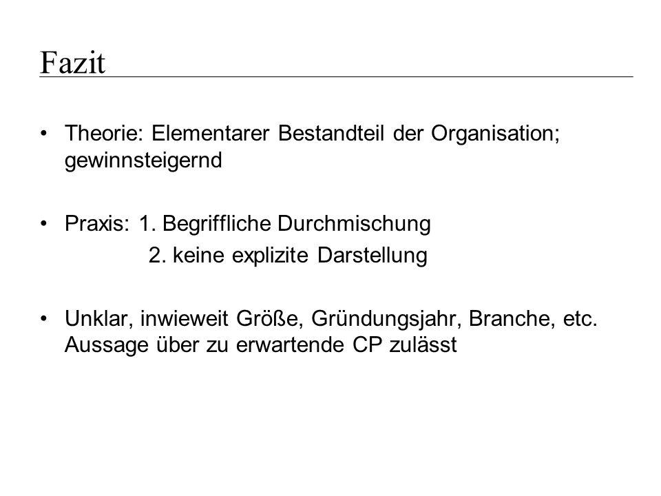 Fazit Theorie: Elementarer Bestandteil der Organisation; gewinnsteigernd. Praxis: 1. Begriffliche Durchmischung.