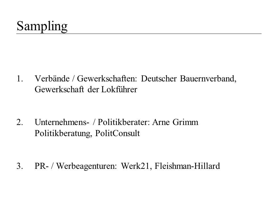Sampling Verbände / Gewerkschaften: Deutscher Bauernverband, Gewerkschaft der Lokführer.