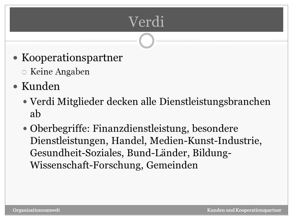 Verdi Kooperationspartner Kunden