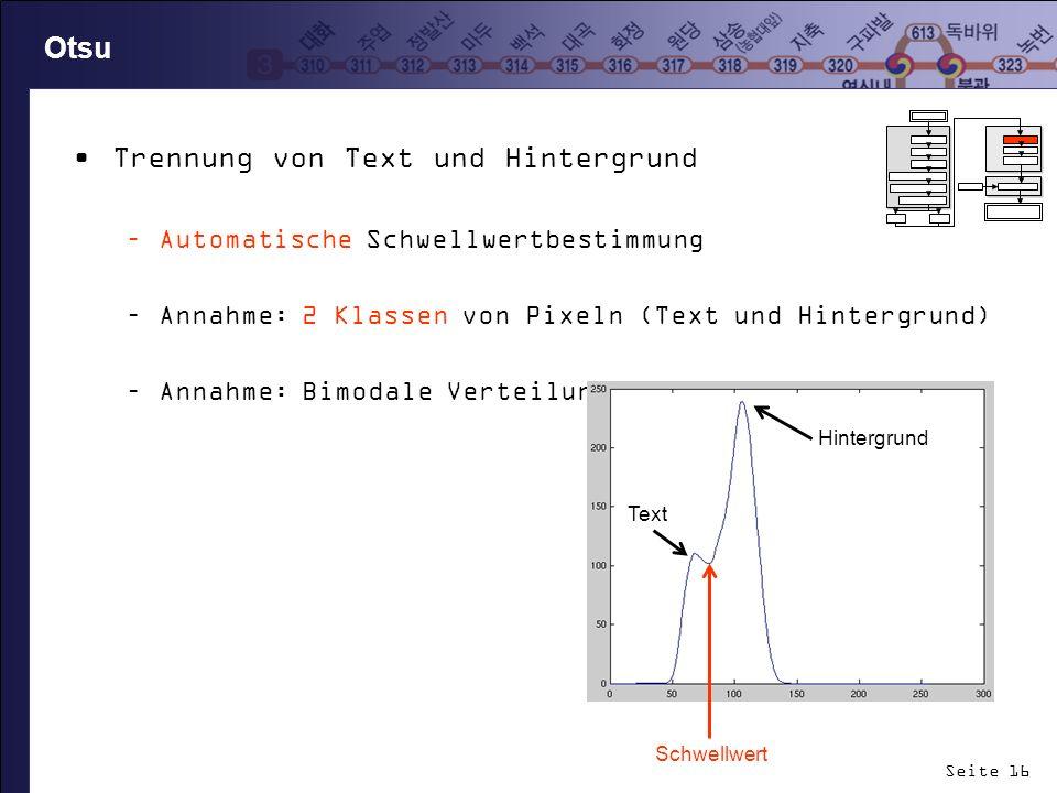 Trennung von Text und Hintergrund